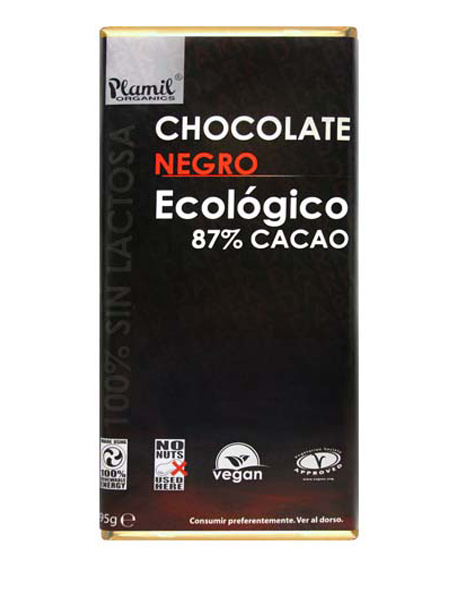 TABLETA CHOCOLATE  NEGRO 87% BIO (PLAMIL)