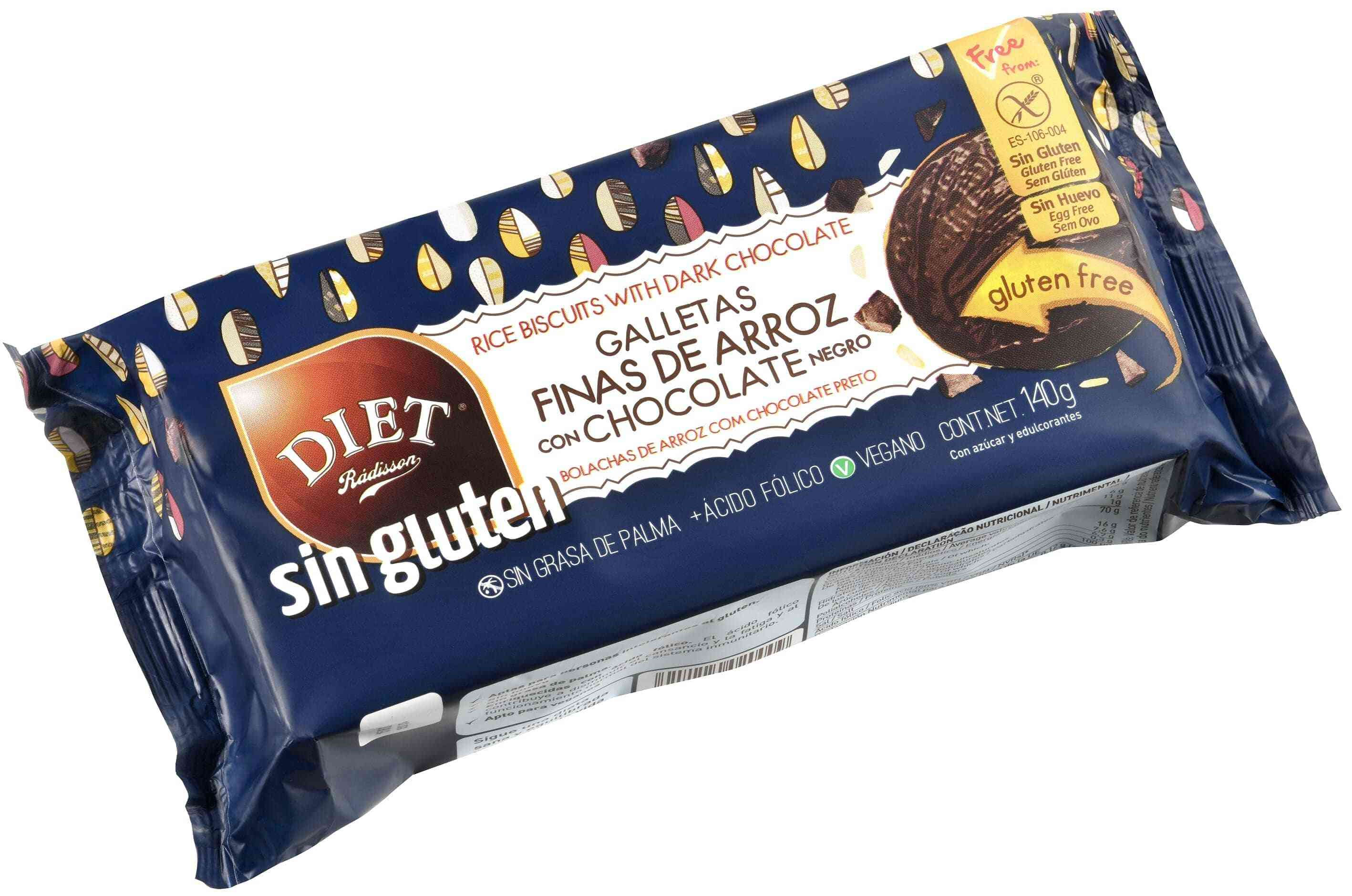GALLETAS FINAS ARROZ CHOCOLATE  S GLUTEN 140 GR DIET RADISSON en Biovegalia
