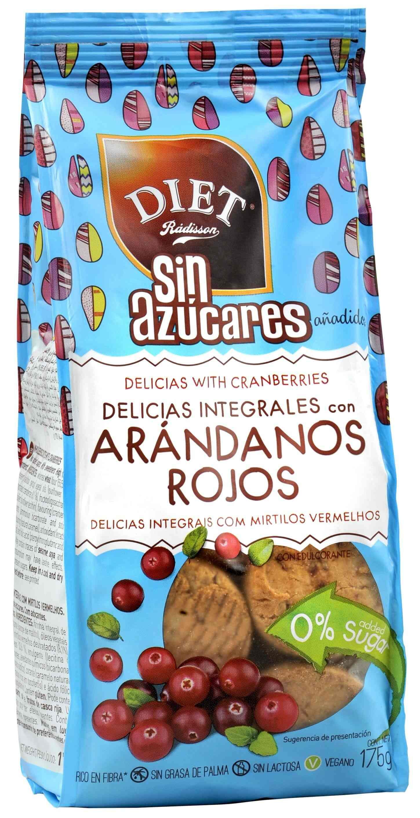 DELICIAS ARANDANOS S AZ  175 GR DIET RADISSON en Biovegalia