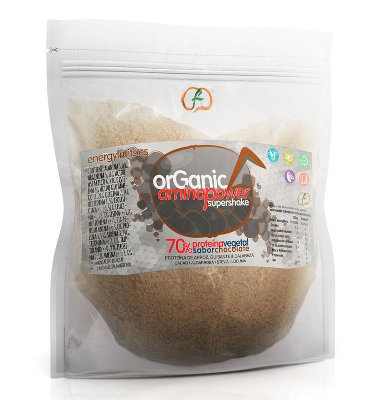 ORGANIC AMINO POWER 70% CHOCOLATE ECO  500GR ENERGYFRUITS en Biovegalia
