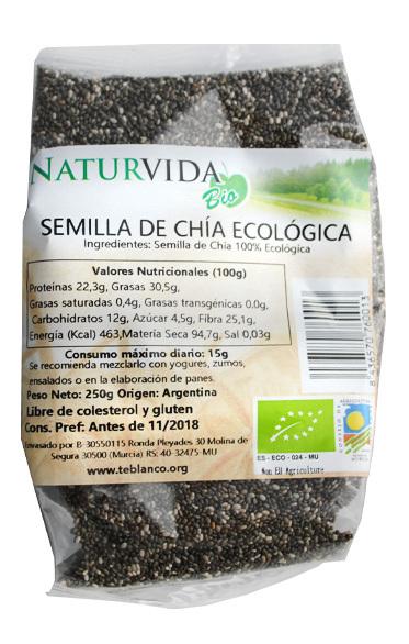 SEMILLA CHIA BIO 250 GR NATURVIDA en Biovegalia