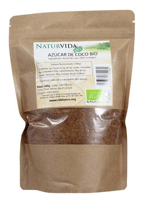 AZUCAR COCO BIO 500 GR NATURVIDA en Biovegalia