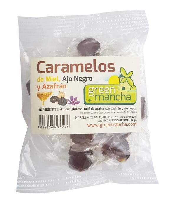 CARAMELOS MIEL  AJO NEGRO Y AZAFRAN 100 GR GREEN MANCHA en Biovegalia