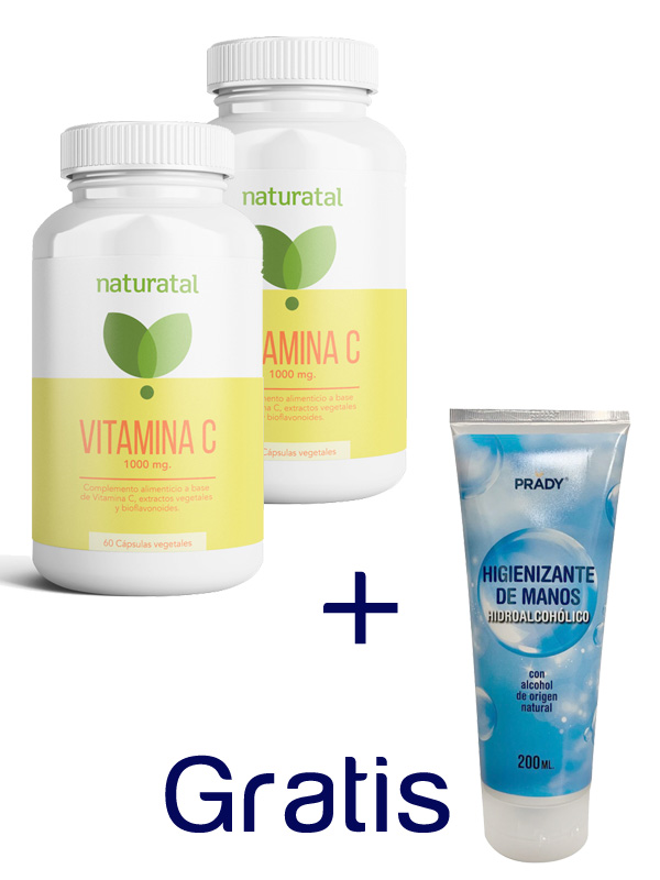 PACK 2 VITAMINA C  y  1 GEL HIDROALCOHOLICO 200 ml DE REGALO en Biovegalia
