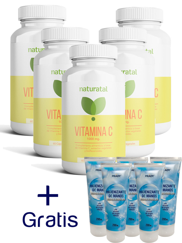 PACK 5 VITAMINA C  y  5 GEL HIDROALCOHOLICO 200 ml DE REGALO en Biovegalia.