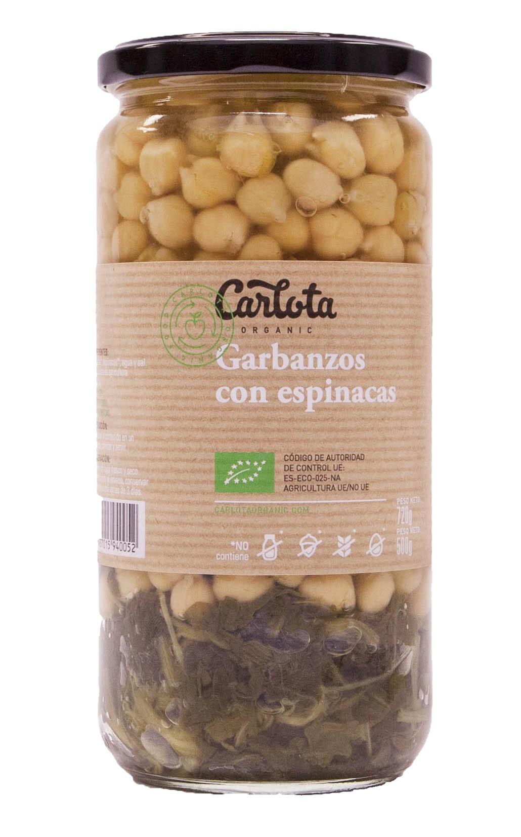 GARBANZOS CON ESPINACAS 720gr CARLOTA ORGANIC en Biovegalia