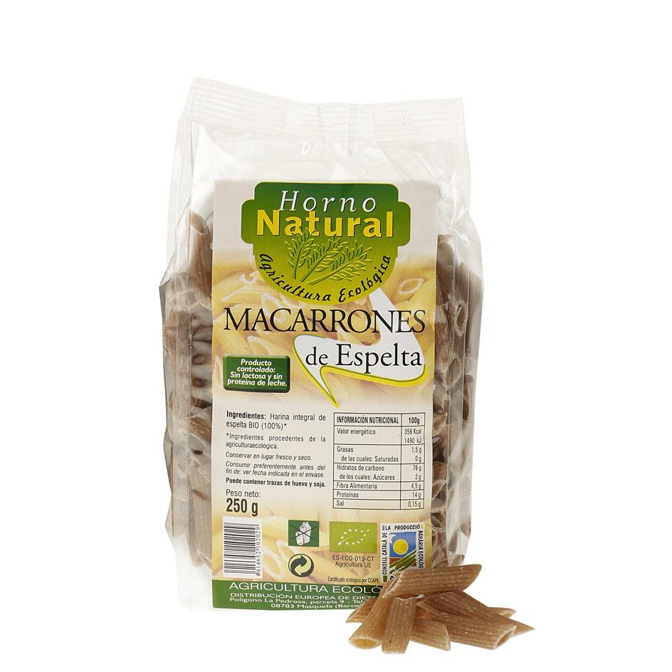 MACARRONES BIO INT ESPELTA 250GR HORNO NATURAL en Biovegalia