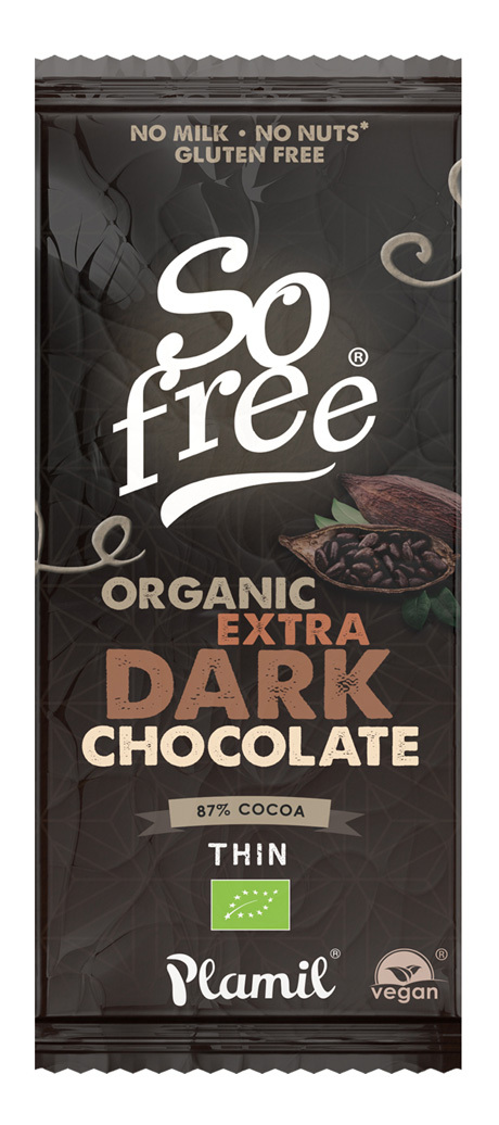 SO FREE CHOCOLATE AL CACAO INTENSO 87% BIO VEGANO 80GR PLAMIL en Biovegalia