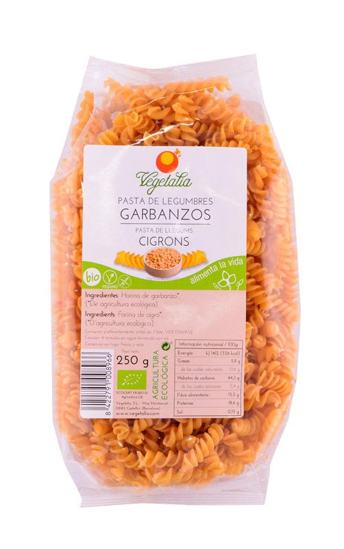 ESPIRALES de GARBANZOS SIN GLUTEN BIO 250g VEGETALIA en Biovegalia