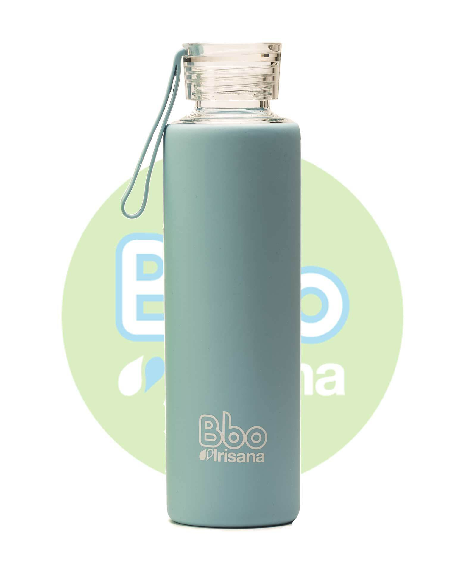 BOTELLA BBO AZUL BOROSILICATO CON SILICONA 550 ml. IRISANA en Biovegalia