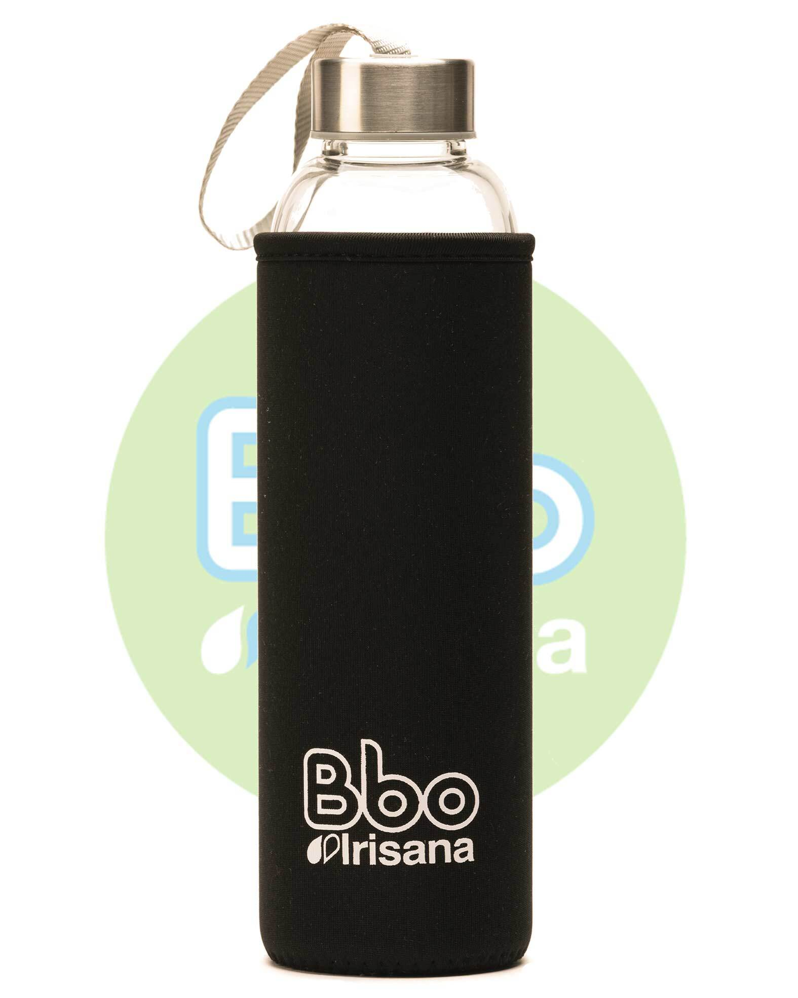BOTELLA BBO NEGRO BOROSILICATO CON NEOPRENO 550 ml. IRISANA en Biovegalia