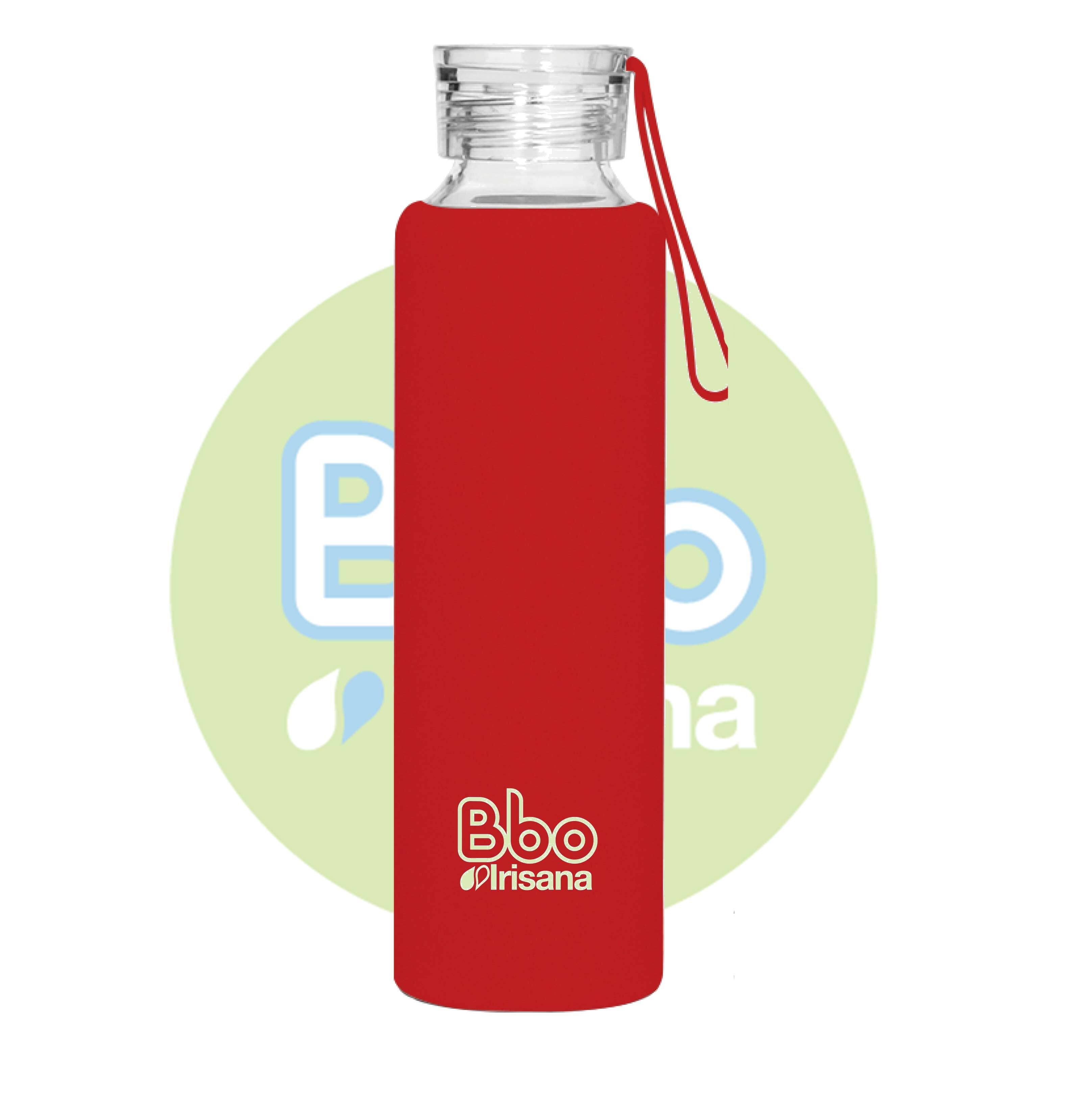 BOTELLA BBO ROJA BOROSILICATO CON SILICONA 550 ml. IRISANA en Biovegalia