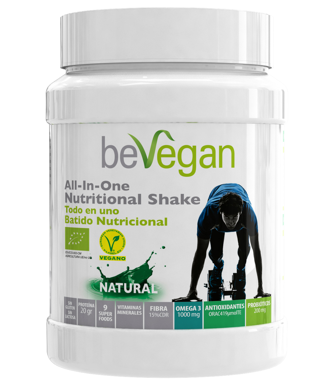 BEVEGAN ALL IN ONE NATURAL NUTRICIONAL SHAKE 600GR en Biovegalia