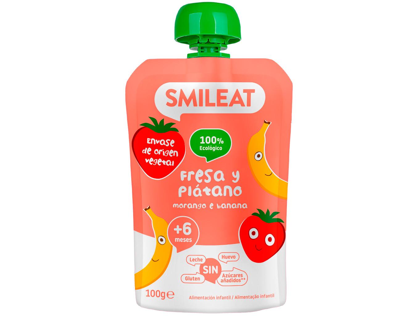 POUCH FRESA PLATANO 100 G ( y 4MESES) SMILEAT en Biovegalia