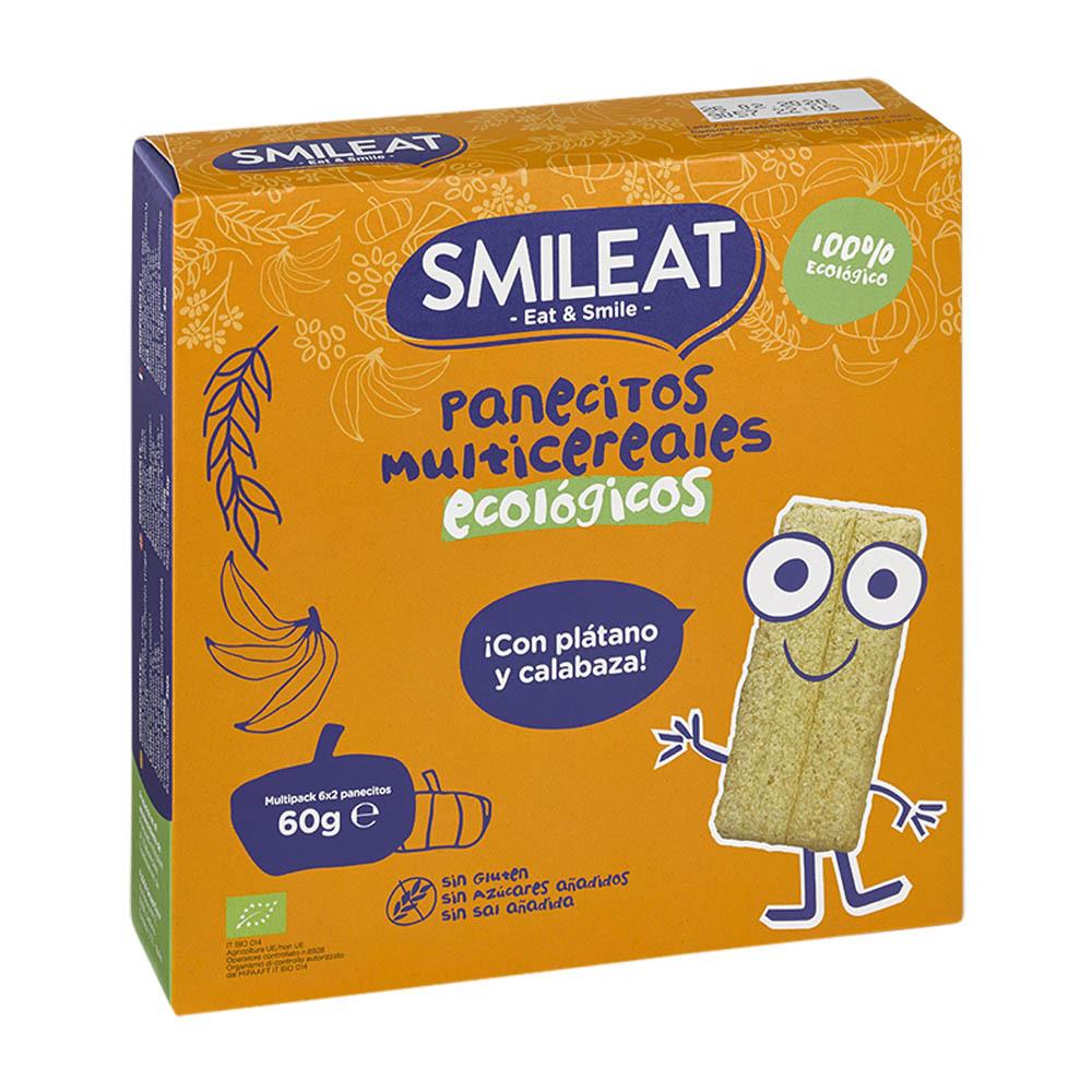 PANECILLOS DE CEREALES CON PLATANO Y CALABAZA BIO 60GR SMILEAT en Biovegalia